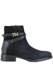 Tommy Hilfiger Hardware Detail Ankle Boots Blue
