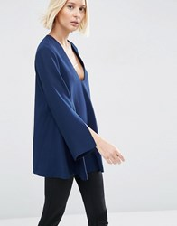 Asos White Tunic Top With Square V Neck Navy