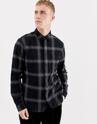Selected Homme Brushed Check Shirt In Slim Fit Black Checks