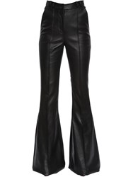 David Koma Flared Leather And Cady Stretch