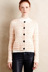 Knitted And Knotted Plaid Boucle Cardi Peach
