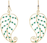 Cathy Waterman Women's Emerald And Gold Leaf Earrings Colorless