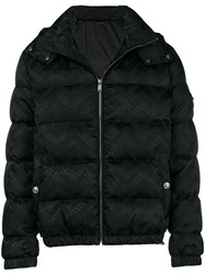 Versace Greek Key Print Puffer Jacket Black