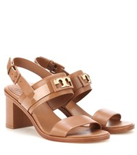 Tory Burch Gigi 65 Two Band Leather Sandals Brown