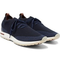 Loro Piana 360 Flexy Walk Leather Trimmed Knitted Wool Sneakers Navy