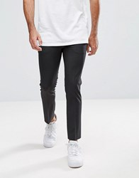 Asos Super Skinny Cropped Smart Trousers In Charcoal Charcoal Grey