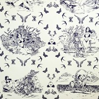 Flavor Paper Sassy Toile Wallpaper Sample Swatch Cobalt On Mica Clay Coated Sample