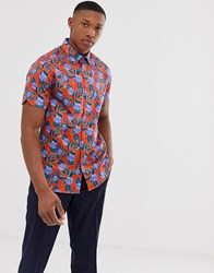 Ted Baker Shirt With Bright Floral Print Red