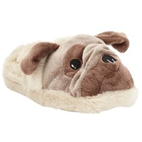 John Lewis Boxer Dog 3D Slippers Brown