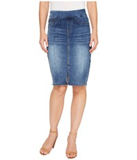 Tribal Pull On Denim Pencil Skirt Faded Blue Women's Skirt
