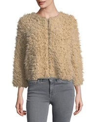 Bb Dakota Faux Fur Cropped Jacket Light Camel