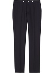 Burberry Classic Fit Triple Stud Wool Mohair Tailored Trousers Blue