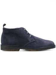 Corneliani Lace Up Mid Top Brogues Cotton Suede Rubber 9.5 Blue