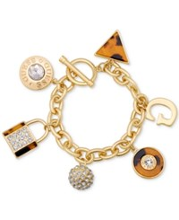 Guess Gold Tone Faux Tortoiseshell And Crystal Charm Bracelet