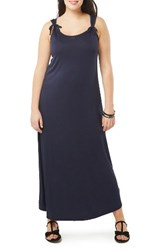 Evans Plus Size Women's Stretch Knit Maxi Dress Navy
