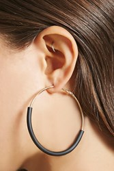 Forever 21 Matte Coat Hoop Earrings Gold Black