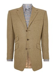 Chester Barrie Grosvenor Herringbone Tweed Jacket Green