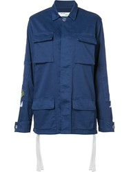 Off White Back Print Cargo Jacket Blue