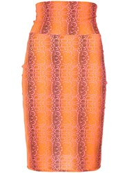 Amir Slama Python Print Skirt Elastolefin Yellow Orange