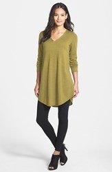 Women's Eileen Fisher Lightweight Merino Jersey V Neck Tunic Moss