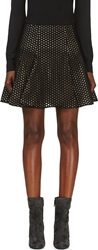 Giambattista Valli Black Mesh And Silk Layered Clove Skirt