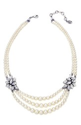 Ben X Ben Amun Women's Faux Pearl And Crystal Multistrand Necklace