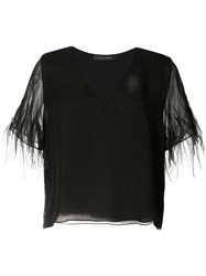 Sally Lapointe Feather Sleeve Top Women Silk Ostrich Feather 8 Black