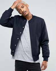 Pull And Bear Pullandbear Wool Bomber In Navy Navy Blue