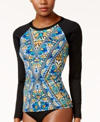 Bar Iii Monarchy Printed Rash Guard Only At Macy's Women's Swimsuit Multi