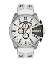 Diesel Advanced Mega Chief Watch Stainless Steel And Leather Strap Watch White