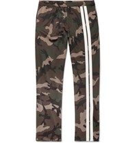 Valentino Striped Camouflage Print Jersey Drawstring Trousers Army Green