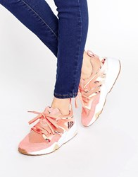 Puma X Careaux Blaze Of Glory Trainers In Coral Rose Print Porcelain Rose Por Pink