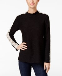 Styleandco. Style Co. Mock Neck Lace Inset Top Only At Macy's Deep Black