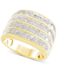 Macy's Men's Diamond Multi Row Ring 2 Ct. T.W. In 10K Gold Yellow Gold