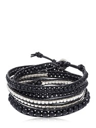 Colana Onyx And Gun Metal Beads Wrap Bracelet Black