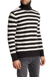 Lands' End Waffle Texture Turtleneck Wool Sweater Gray