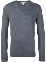 Burberry V Neck Jumper Grey