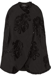 Simone Rocha Embellished Flocked Brocade Cape Black