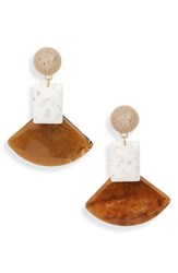 Leith Geometric Stone Drop Earrings Brown White