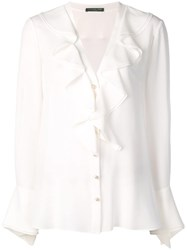 Alexander Mcqueen Ruffled Neck Blouse White