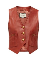 Gucci Gg Button Leather Waistcoat Brown