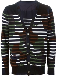 Sacai Striped Camouflage Cardigan