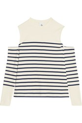 Iris And Ink Cold Shoulder Striped Cotton Jersey Top Navy