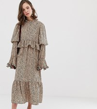 Sister Jane Midaxi Dress With Volume Sleeves In Dalmation Spot Beige