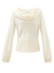 Rebecca De Ravenel Laura Cowl Neck Hammered Silk Blouse Ivory