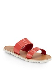 Joie A La Plage Avalon Patent Leather Double Strap Sandals Preppy Pink