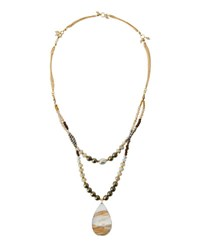 Nakamol Long Beaded Moonstone Teardrop Necklace No Color