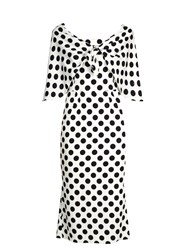 Dolce And Gabbana Tie Front Polka Dot Print Charmeuse Dress White Multi