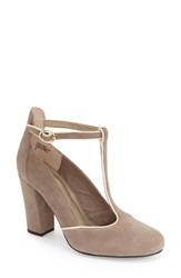Seychelles 'Trumpet' T Strap Pump Women Taupe Suede Leather