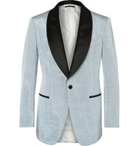 Tom Ford Blue Slim Fit Satin Trimmed Faille Tuxedo Jacket Sky Blue